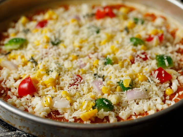 pizza topped with grated parmesan cheese