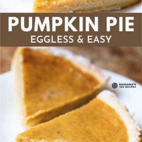 two triangular slices of eggless pumpkin pie on a white plate
