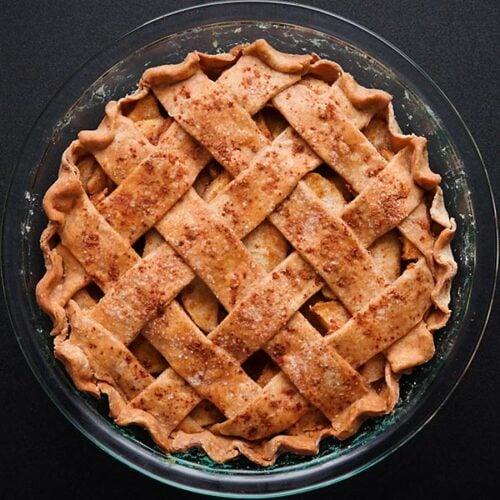 latticed apple pie baked in a pie pan