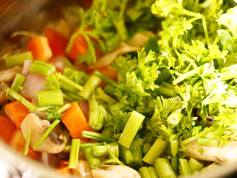 vegetables, celery and parsley in stockpot
