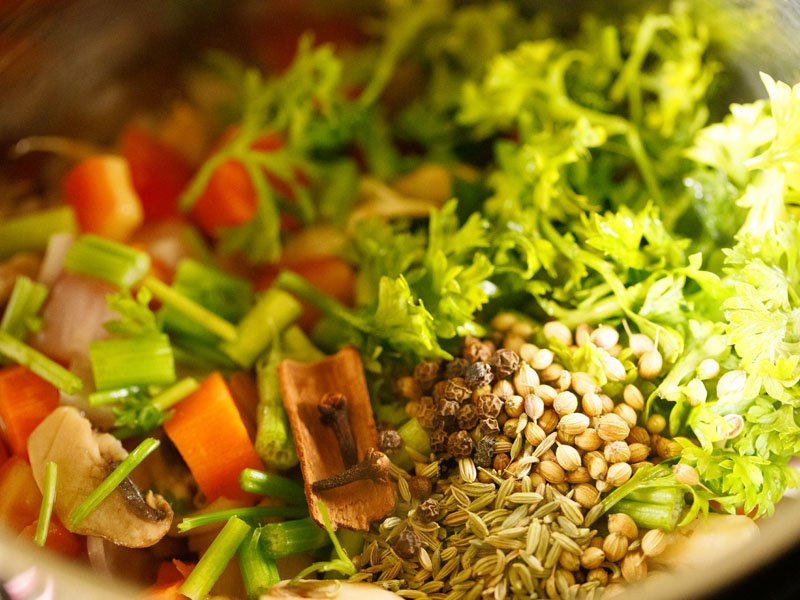 all vegetables, herbs and spices added to stockpot