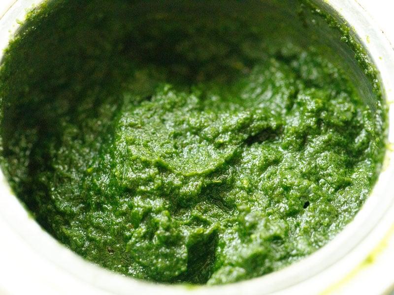green coriander chutney in a blender