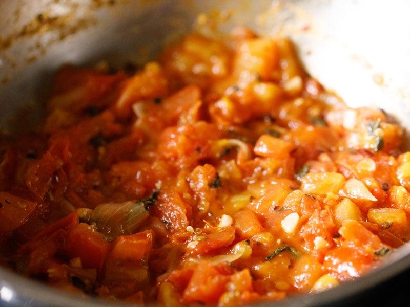 tomato mixture after deglazing pan