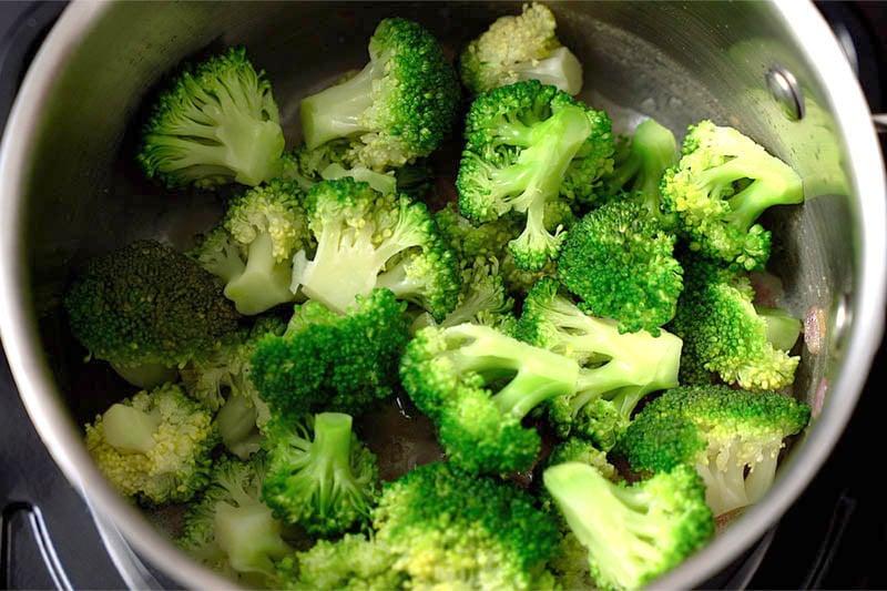 Top shot of broccoli florets in pot