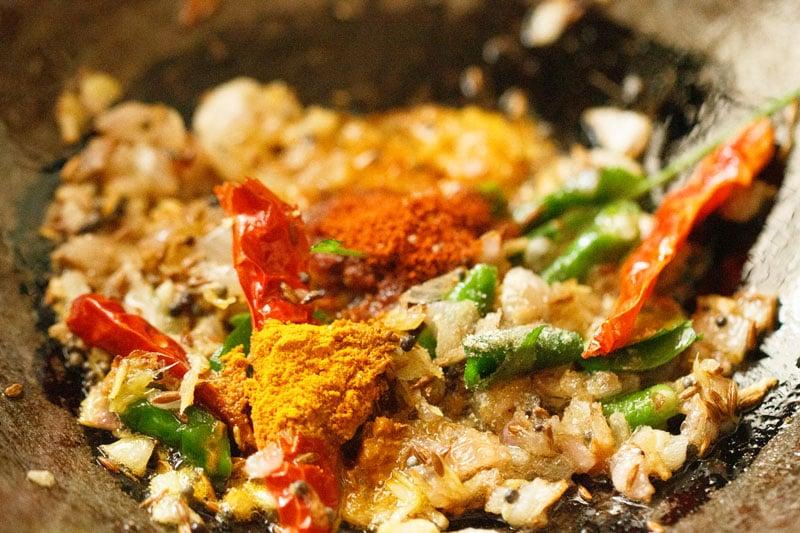 spice powders added to kadai