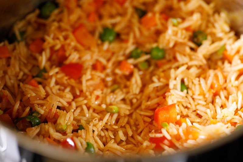 combine, and continue to sauté the veggie rice mixture for 2 to 3 minutes on a low heat