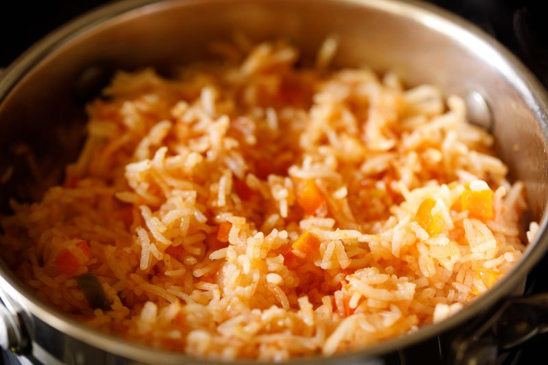 cooked mexican rice in the pan