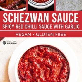 collage image of schezwan sauce in a white bowl and three steps to make it with text layovers