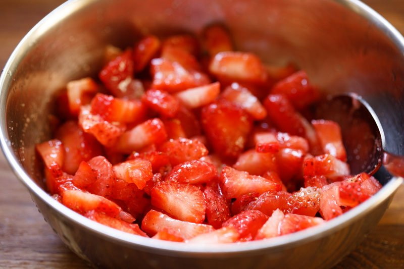 chopped strawberries mixed with sugar