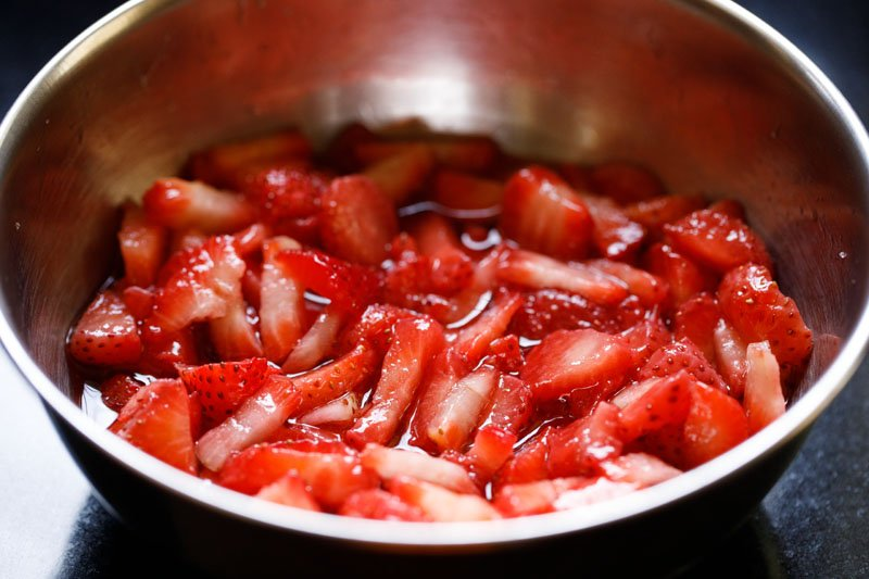 strawberries macerated in sugar syrup