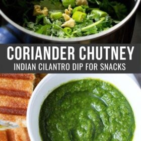collage of cilantro chutney ingredients in a blender and green coriander chutney in bowl with a text layover