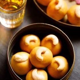 Basket of besan ladoo with cashews