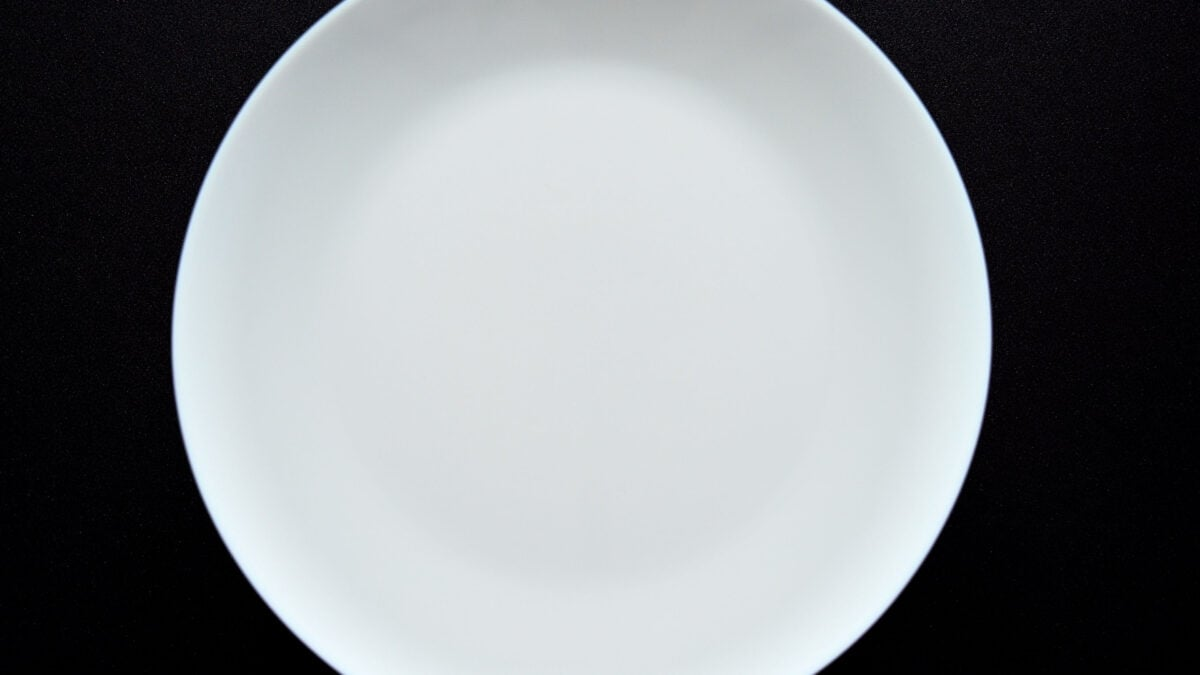 top shot of white plate on the bowl
