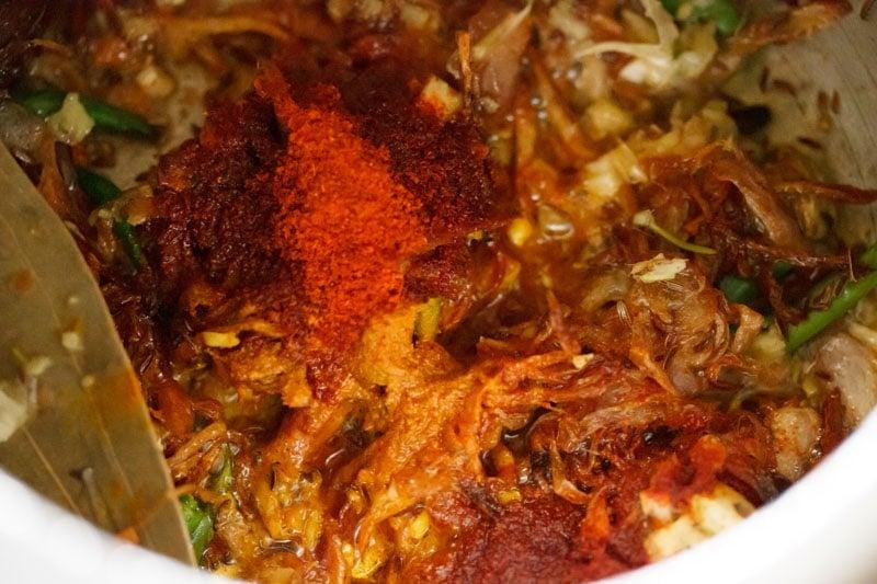 ground spices added for biryani recipe