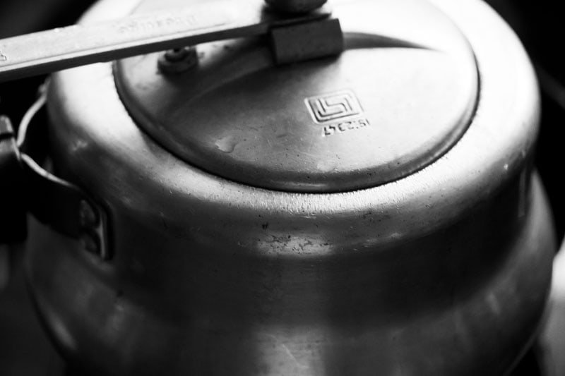 pressure cooker covered with lid