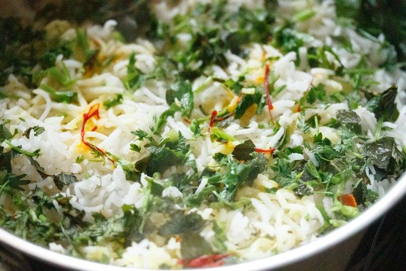 Top shot of cooked dum biryani in the pan