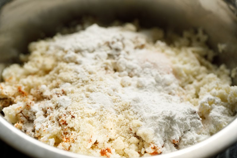 almond flour, tapioca starch on the grated potatoes mixture