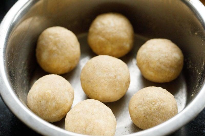 stuffed and prepared kofta ball placed in steel bowl