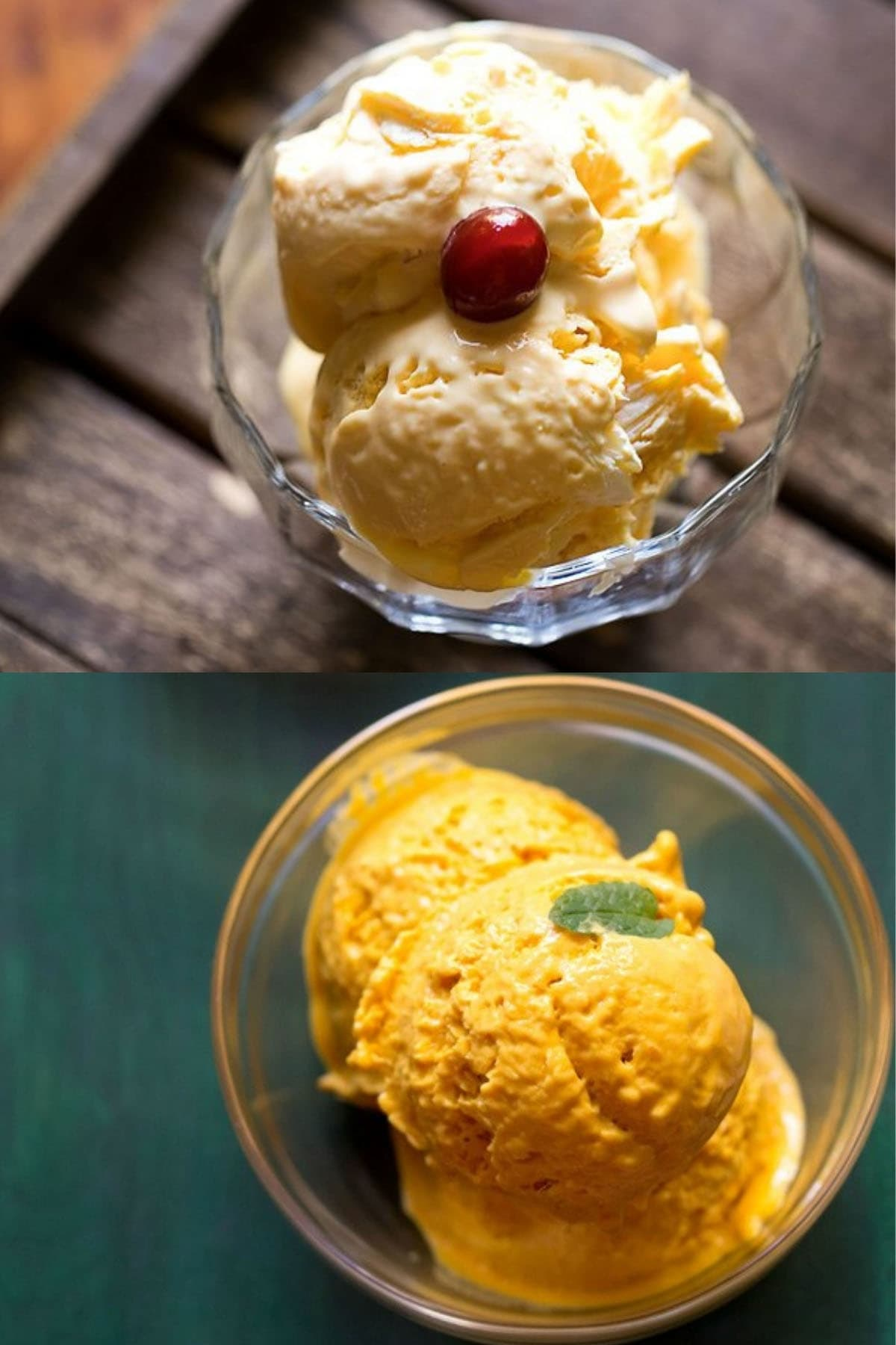 collage of two types of mango ice cream scooped in glass bowls