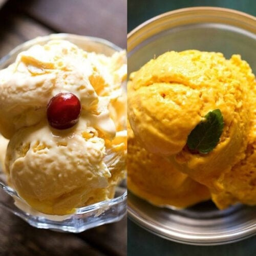 collage of two types of mango ice cream recipes scooped in glass bowls