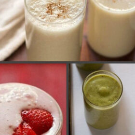 collage of some milkshake recipes with text layovers