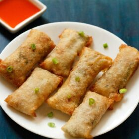 Top view of spring rolls on white plate