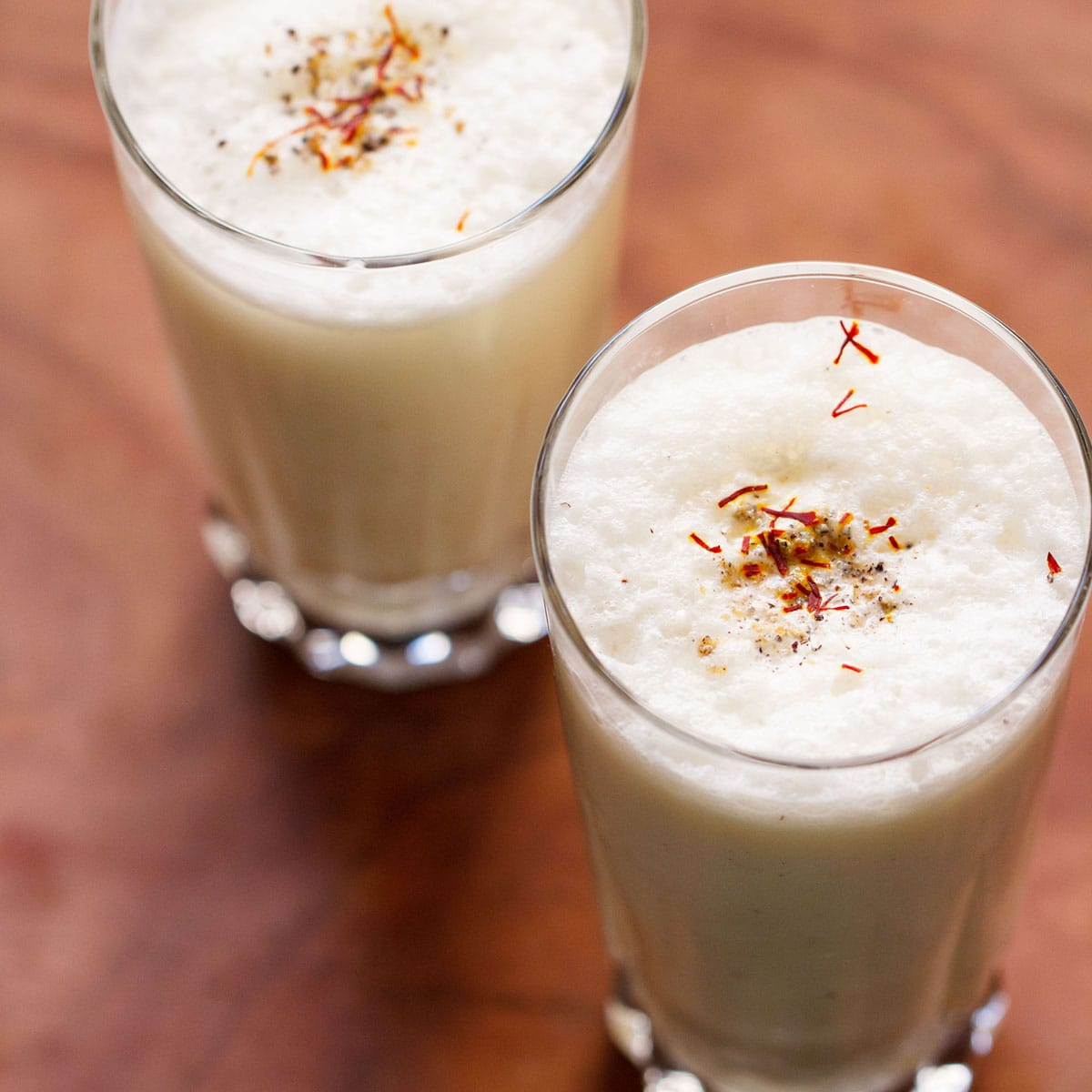 Top shot of two glasses filled with lassi