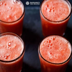 four tall clear glasses filled with watermelon juice on a black background with text layovers