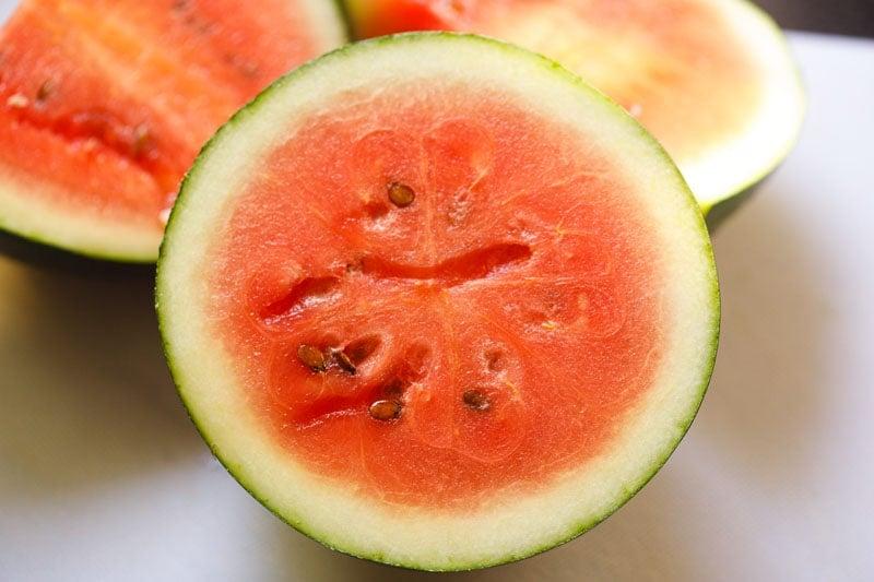 watermelon cut in half horizontally