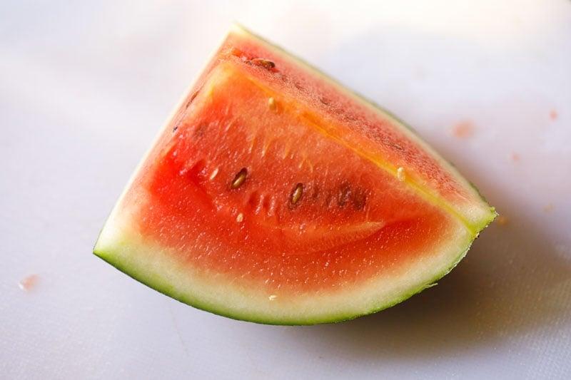 watermelon cut into a quarter