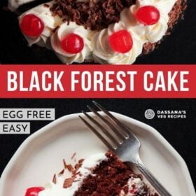 collage of two photos of black forest cake with text layovers