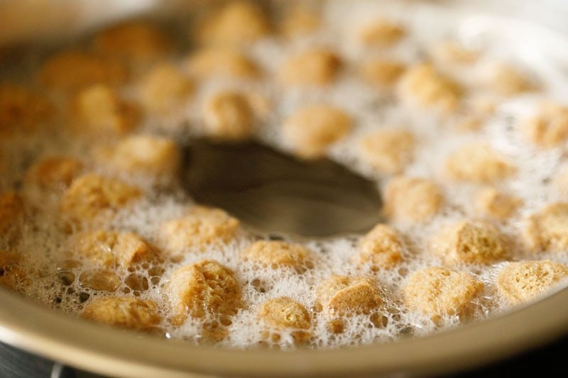 salted water boiling with soy nuggets