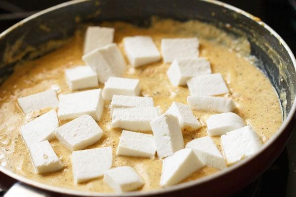 paneer added to achari gravy