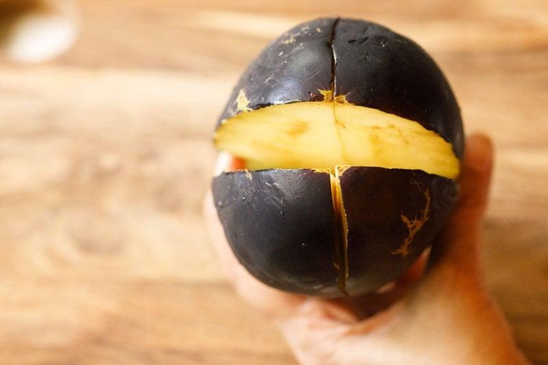 pulling apart the chopped eggplant