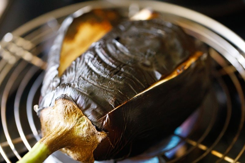 roasting eggplant in stove-top burner