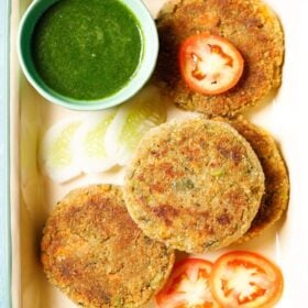 cutlet recipe on plate with chutney