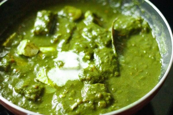 cream added to palak paneer