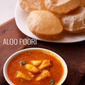 top view of aloo poori in bowl