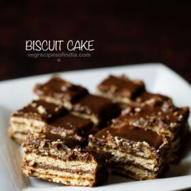 biscuit cake on white plate
