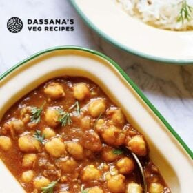 overhead shot of instant pot chana masala in a rectangular shaped bowl with text layovers