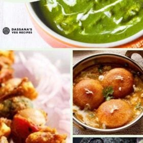 collage of four paneer dishes with text layovers