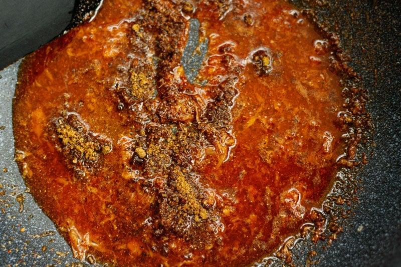 saute the masala on a low heat