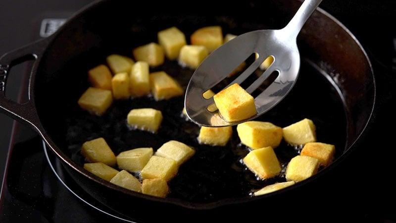 fried golden potato cubes