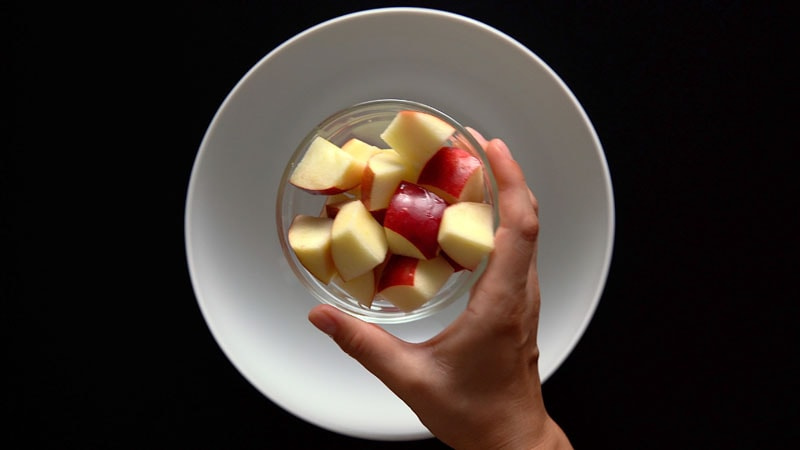 chopped apple cubes in a bowl