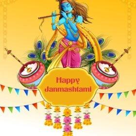vector image of Bhagwan Krishna playing flute on Janmashtami festive background with text layovers