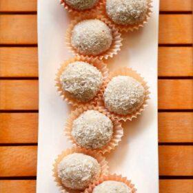 top view of coconut ladoo recipe