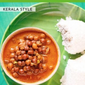 overhead shot of kadala curry in a green bowl on a green plate with two puttu by the side with text layovers