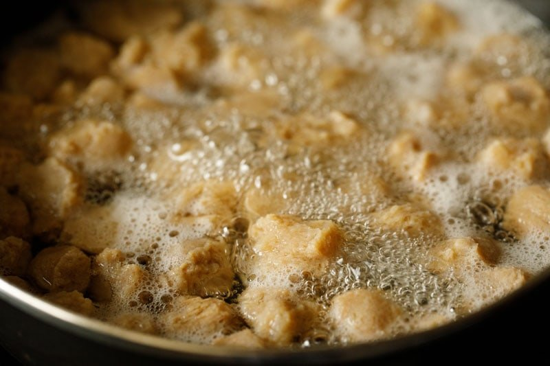 soya chunks cooking in water