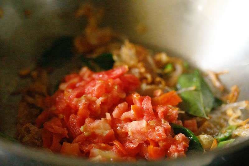 chopped tomatoes added to saute mix