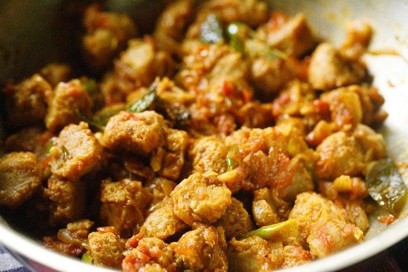 Soya chunks fry or meal maker fry in pan